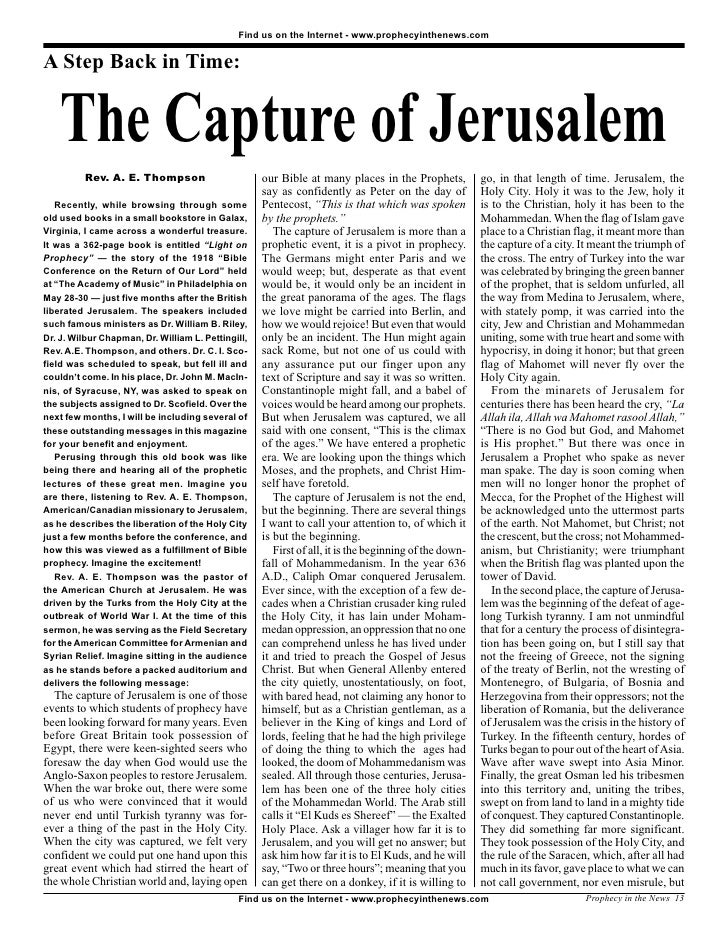 Find us on the Internet - www.prophecyinthenews.com   A Step Back in Time:       The Capture of Jerusalem           Rev. A...