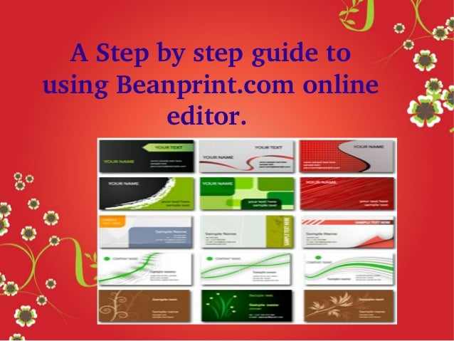A Step by step guide to  using Beanprint.com online  editor.
