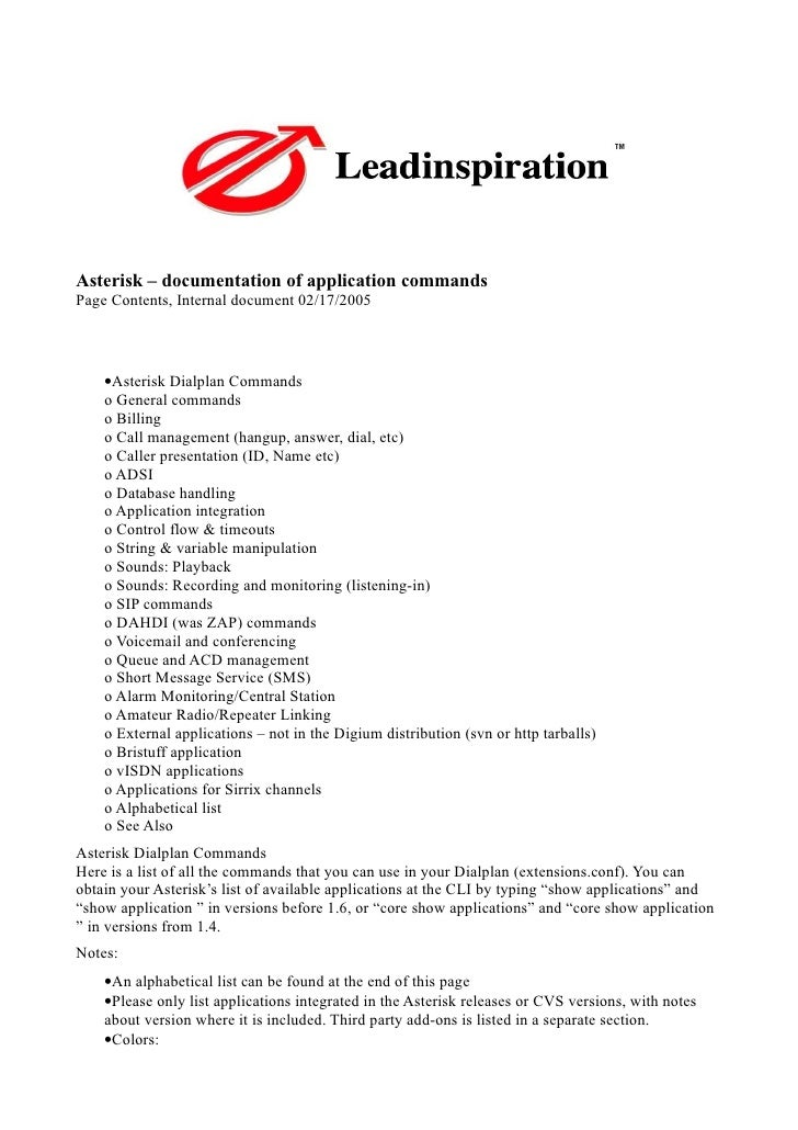 Asterisk – documentation of application commands Page Contents, Internal document 02/17/2005         •Asterisk Dialplan Co...
