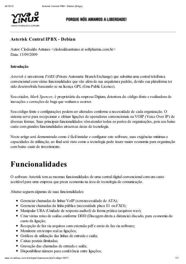 24/10/12                          Asterisk Central IPBX - Debian [Artigo]     Asterisk Central IPBX - Debian     Autor: Cl...