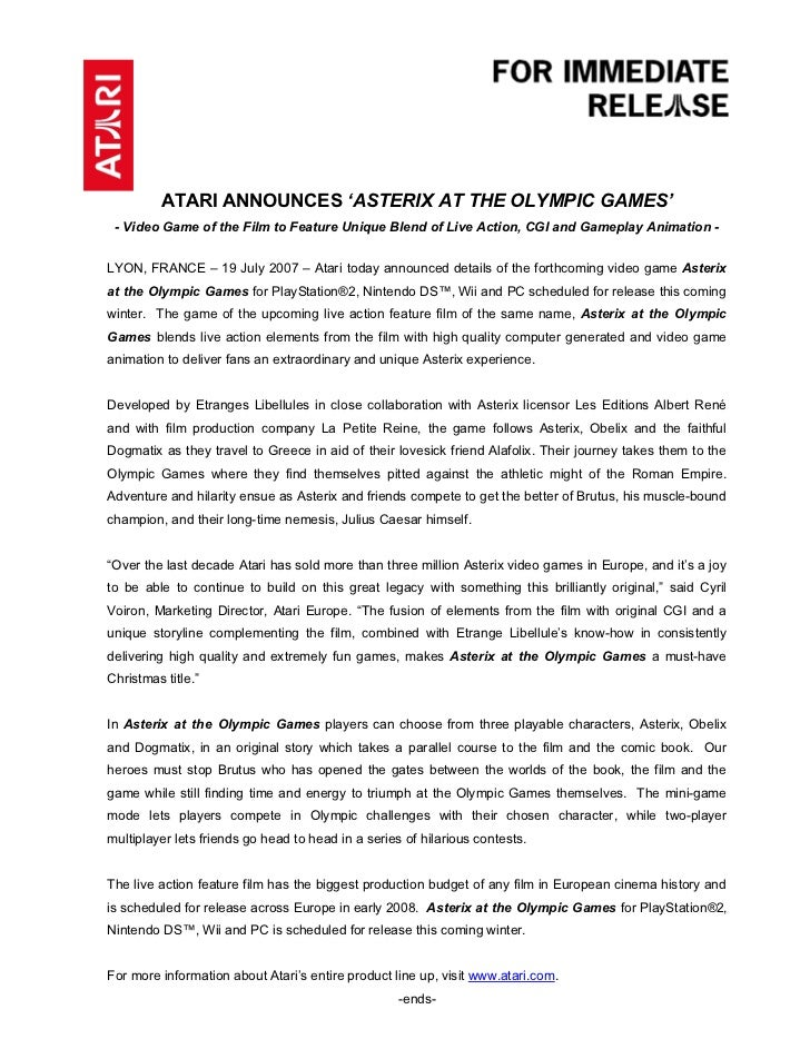 ATARI ANNOUNCES 'ASTERIX AT THE OLYMPIC GAMES'  - Video Game of the Film to Feature Unique Blend of Live Action, CGI and G...