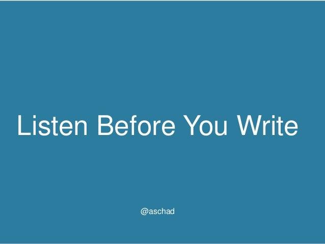 #UNLTT - Think Tank Listen Before You Write @aschad