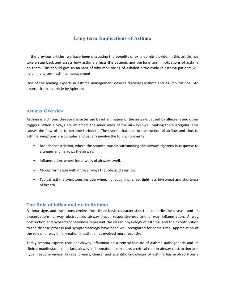Long term Implications of Asthma
