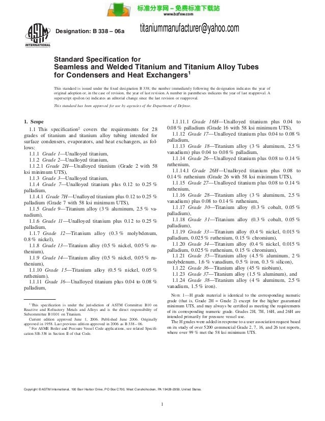Astm b 338 06a titanium seamless tubes for heat exchangers