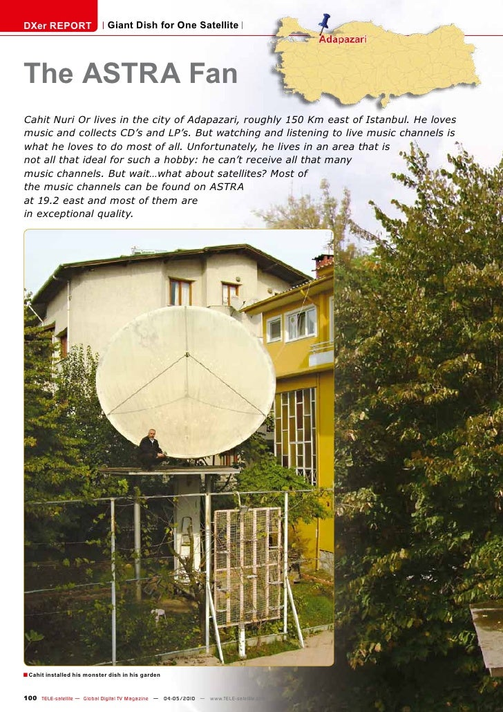 DXer REPORT                  Giant Dish for One Satellite     The ASTRA Fan Cahit Nuri Or lives in the city of Adapazari, ...