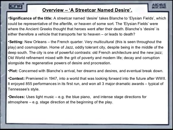 southern literature genre of streetcar named desire