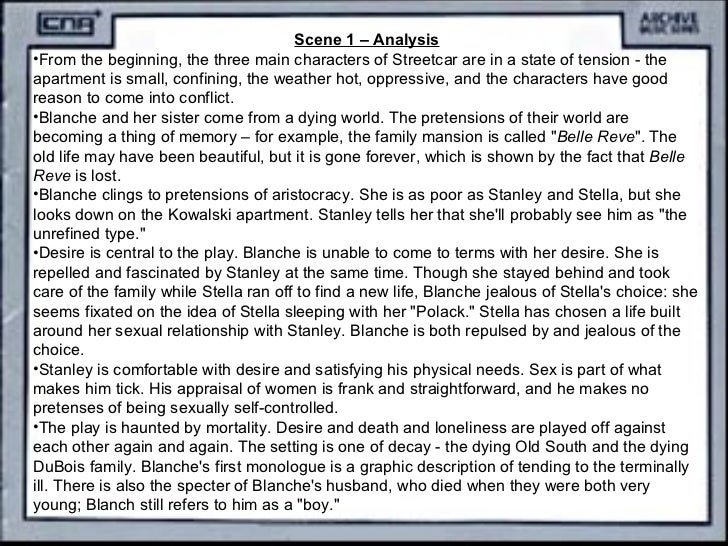 an analysis of the character blanche from the play a streetcar named desire
