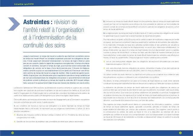 10 11 Actualités syndicales Actualités syndicales Astreintes : révision de l'arrêté relatif à l'organisation et à l'indemn...