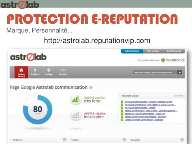 PROTECTION E-REPUTATION Marque, Personnalité...  http://astrolab.reputationvip.com