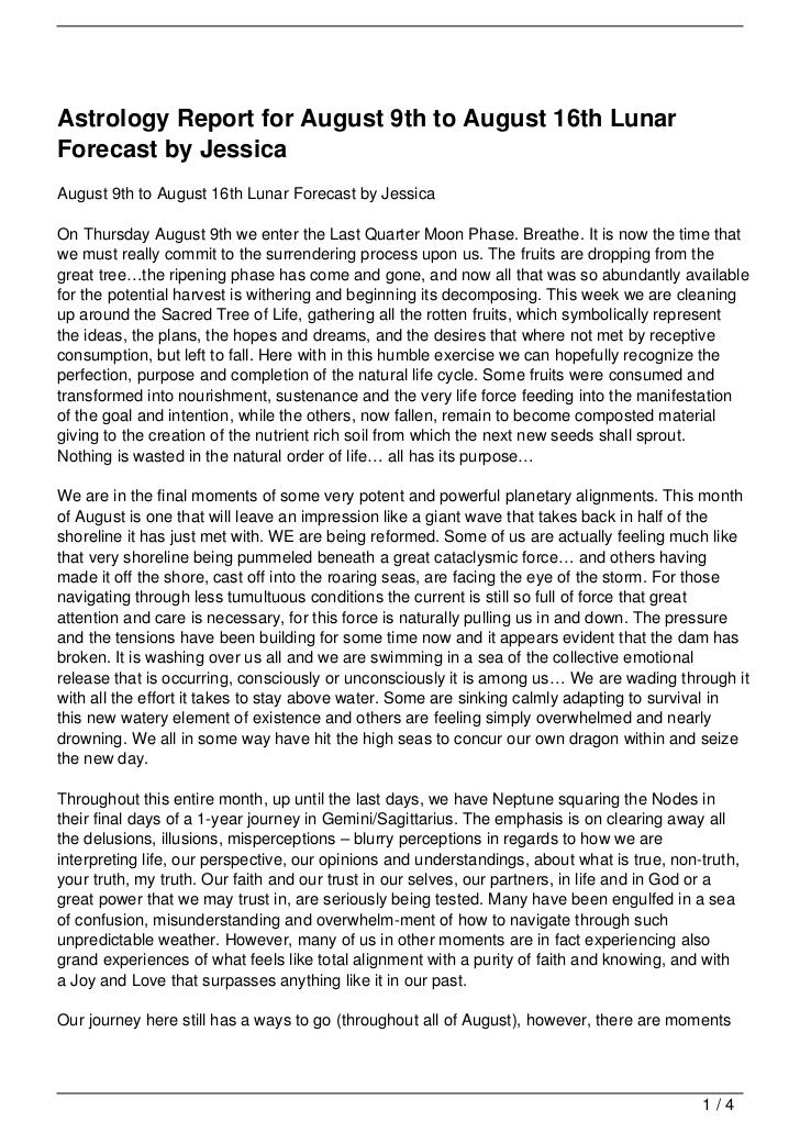 Astrology Report for August 9th to August 16th Lunar Forecast by Jessica
