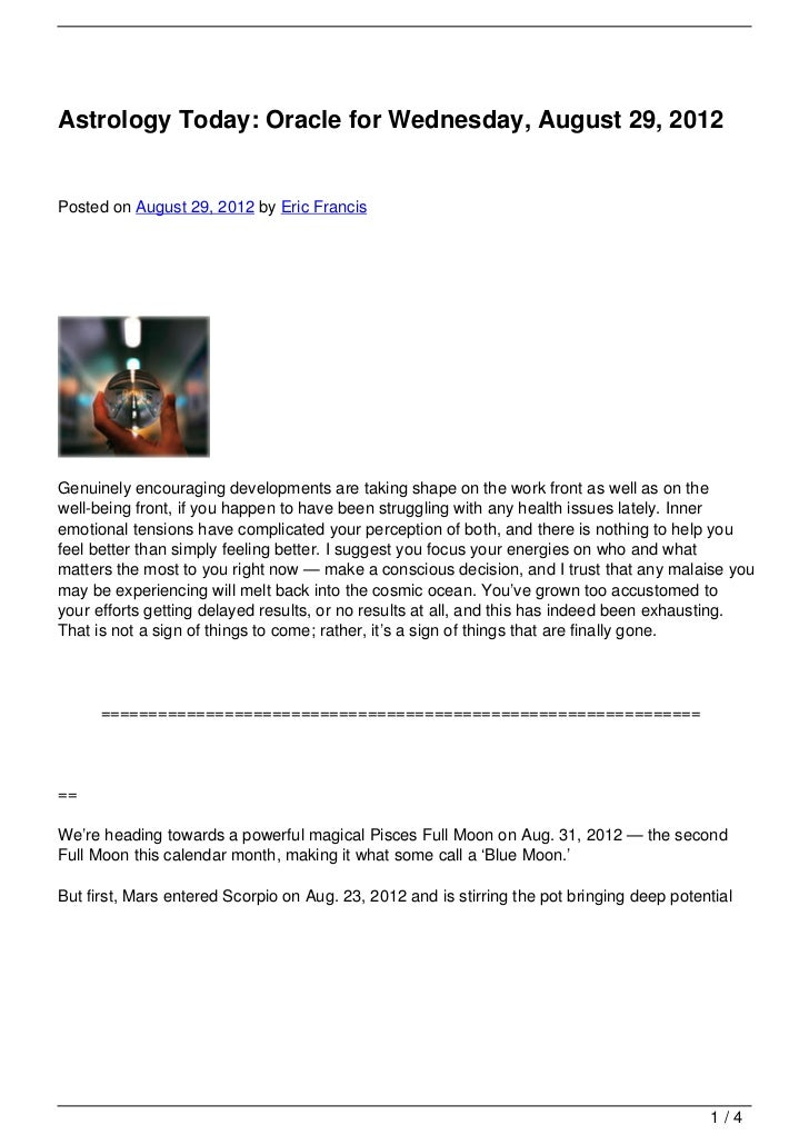 Astrology Today: Oracle for Wednesday, August 29, 2012