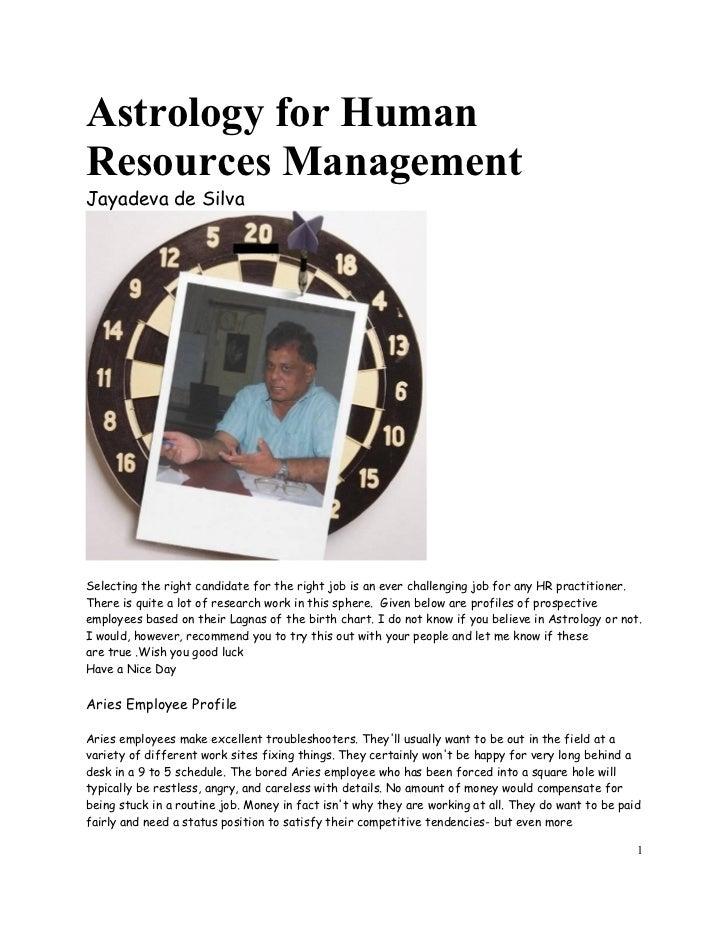 Astrology & Human Resource Mnagement