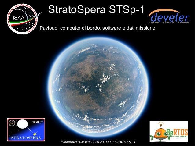 StratoSpera STSp-1 Payload, computer di bordo, software e dati missione Panorama little planet da 24.000 metri di STSp-1