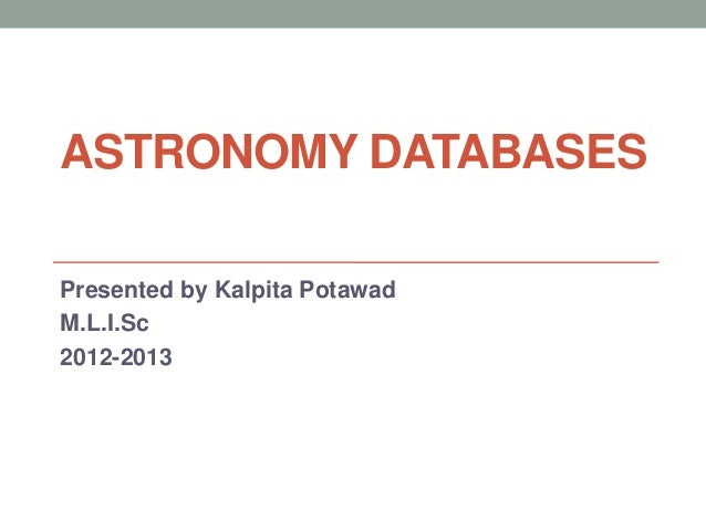 Astronomy databases ppt