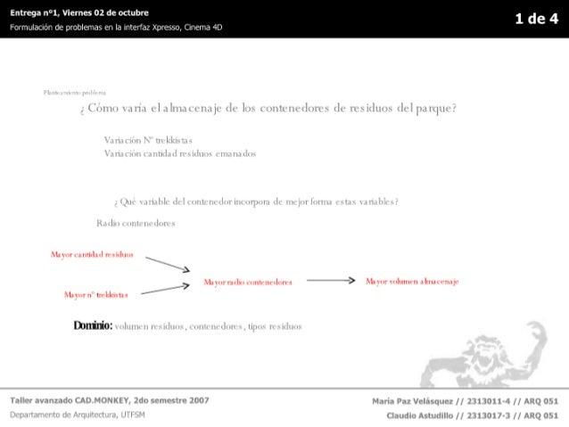 """Entrega n°1, Viernes 02 de octubre 1 de 4 FOHTILÏBCIÓH ce problemas en la nterfaz Xpresso,  Clrcma 4D                    """"..."""