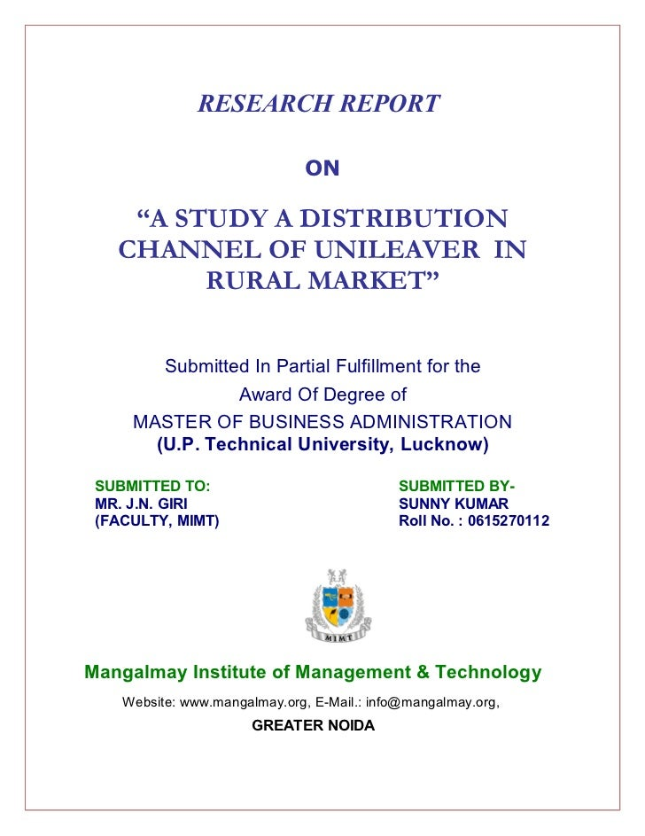 """RESEARCH REPORT                               ON    """"A STUDY A DISTRIBUTION   CHANNEL OF UNILEAVER IN         RURAL MARKET..."""