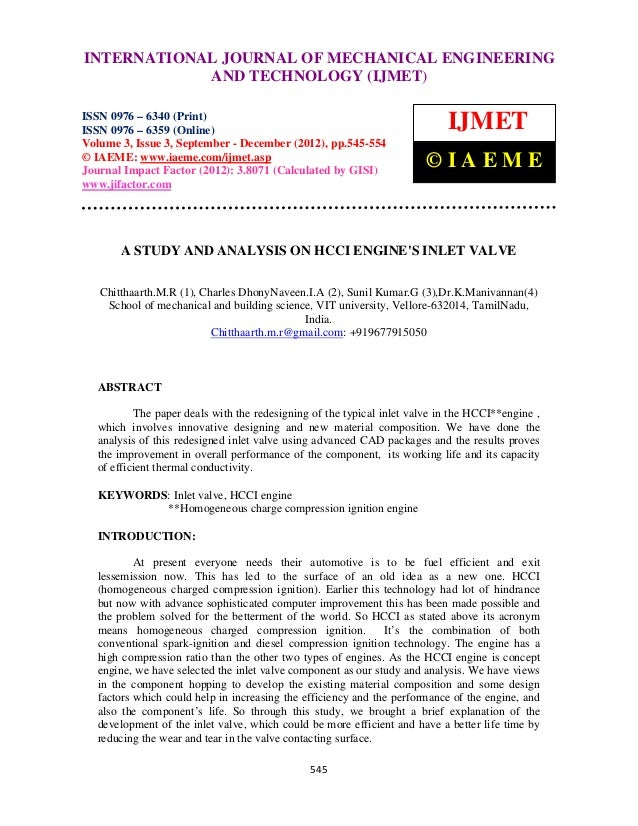A study and analysis on hcci engines