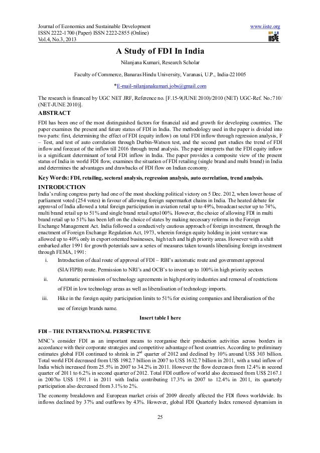 A study of fdi in india