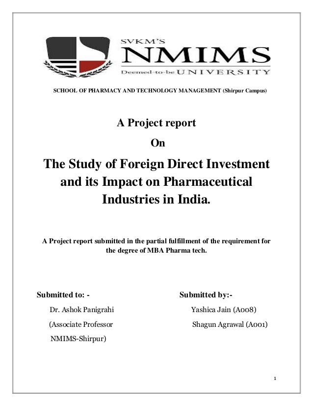 A study of foreign direct investment in indian pharmaceutical industries