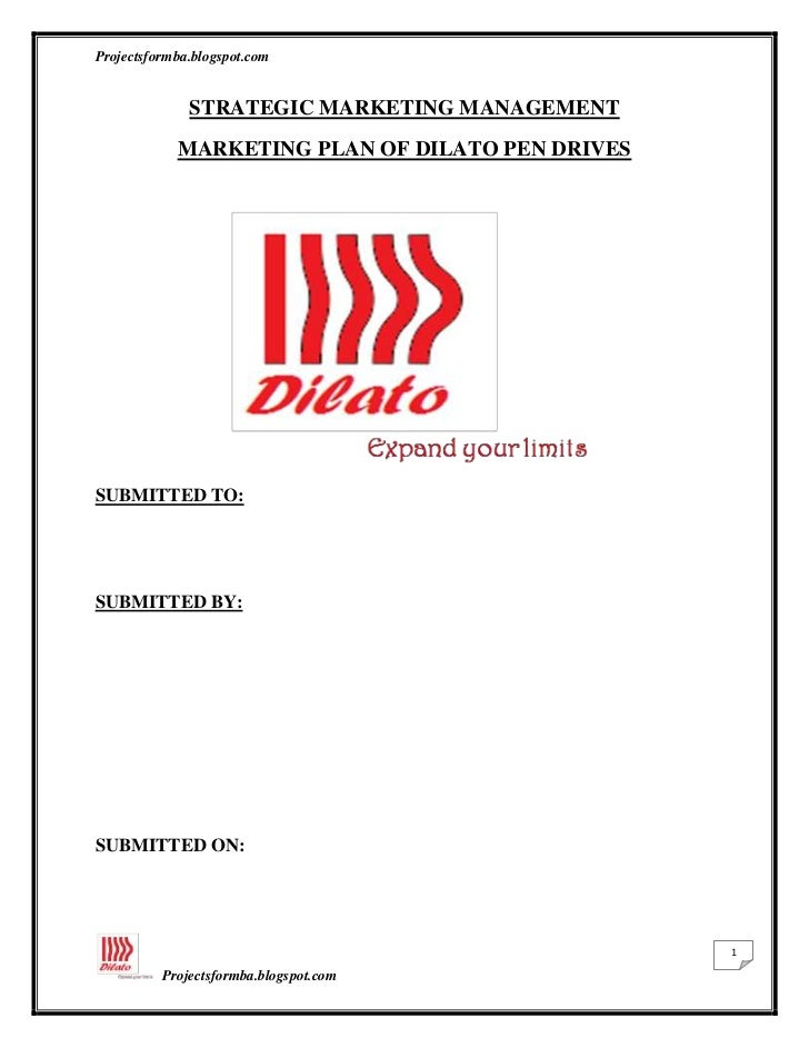 STRATEGIC MARKETING MANAGEMENT<br />MARKETING PLAN OF DILATO PEN DRIVES <br />SUBMITTED TO: <br /> <br />SUBMITTED BY:<br ...