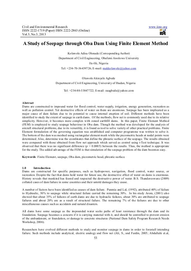 A study of seepage through oba dam using finite element method