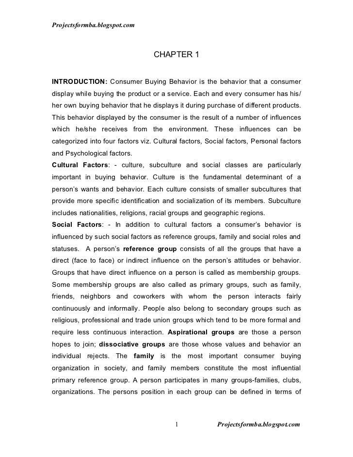 Projectsformba.blogspot.com                                  CHAPTER 1INTRODUCTION: Consumer Buying Behavior is the behavi...