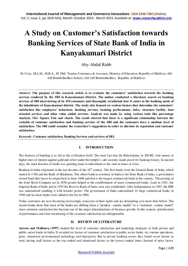 literature review of customer satisfaction of bank