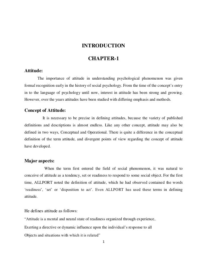 INTRODUCTION                                         CHAPTER-1Attitude:            The importance of attitude in understan...