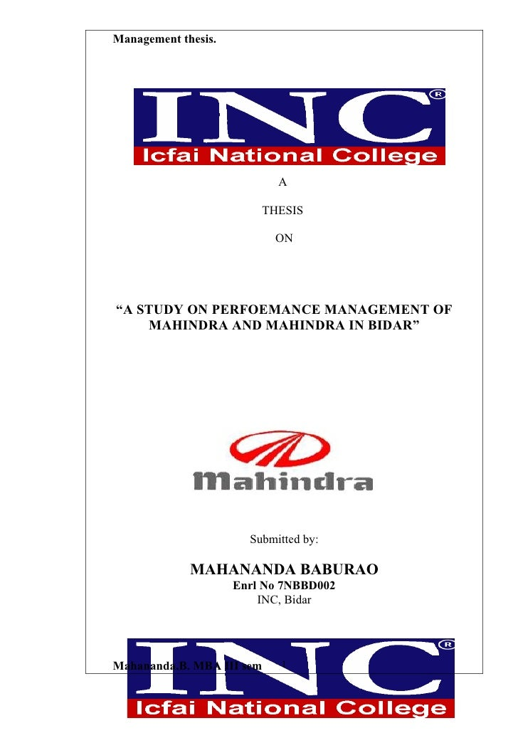 A study on perfoemance management of mahindra and mahindra in bidar