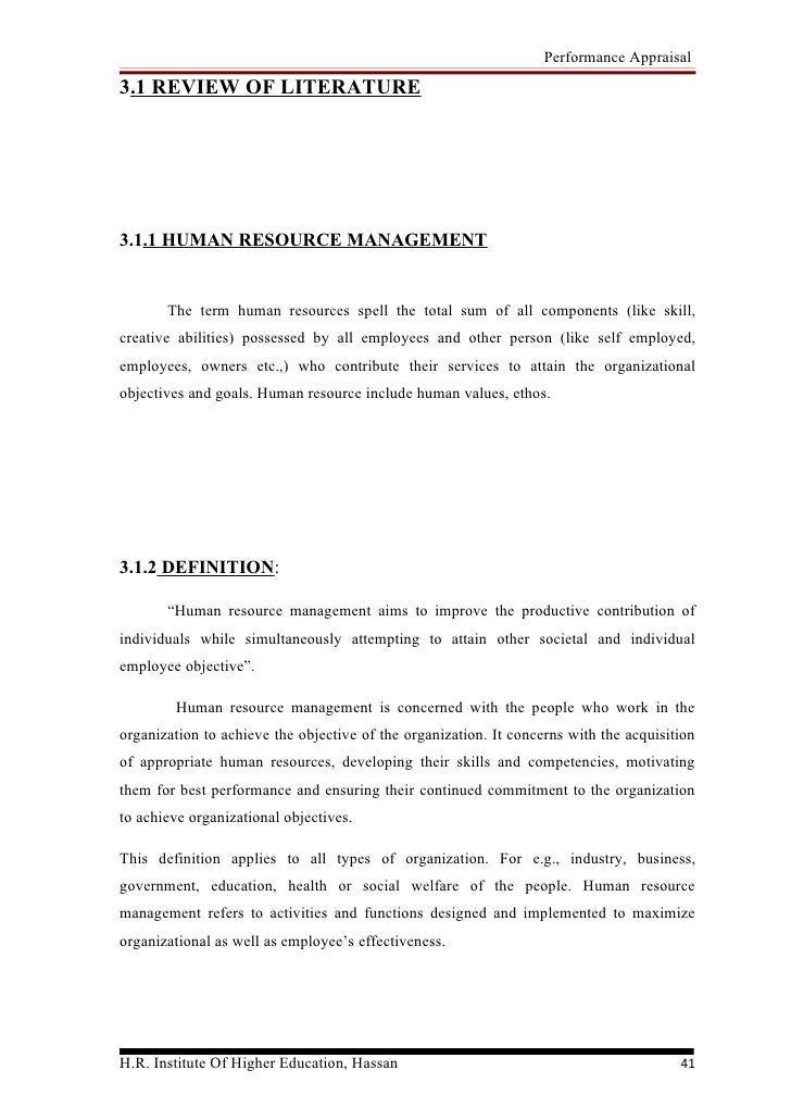 literature review on performance appraisal.doc A critical review of literature on performance contracting the 360 degree appraisal systems were introduced review of literature.