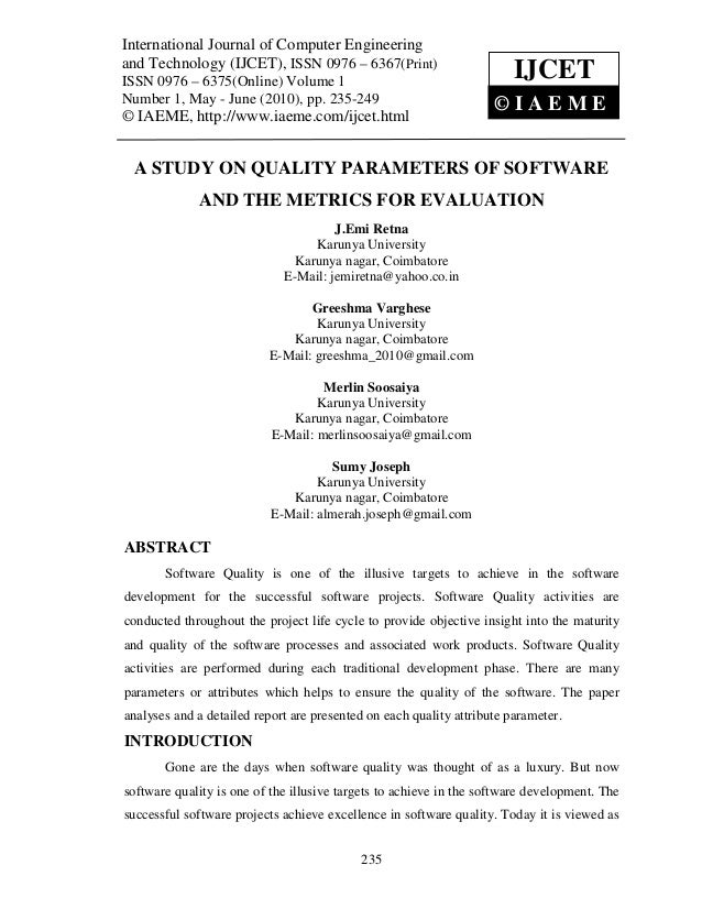 A study on quality parameters of software and the metrics