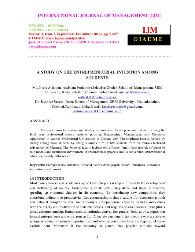 A study on the entrepreneurial intention among students