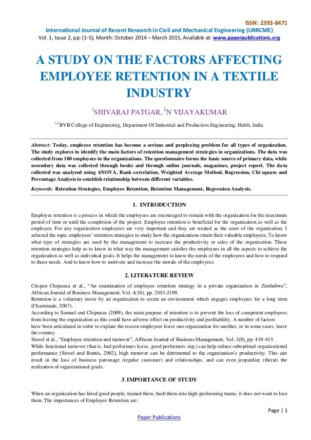 a study on employee retention practices This study revealed weak retention practices by the college in all of the  study on employee retention in education sector in india international.