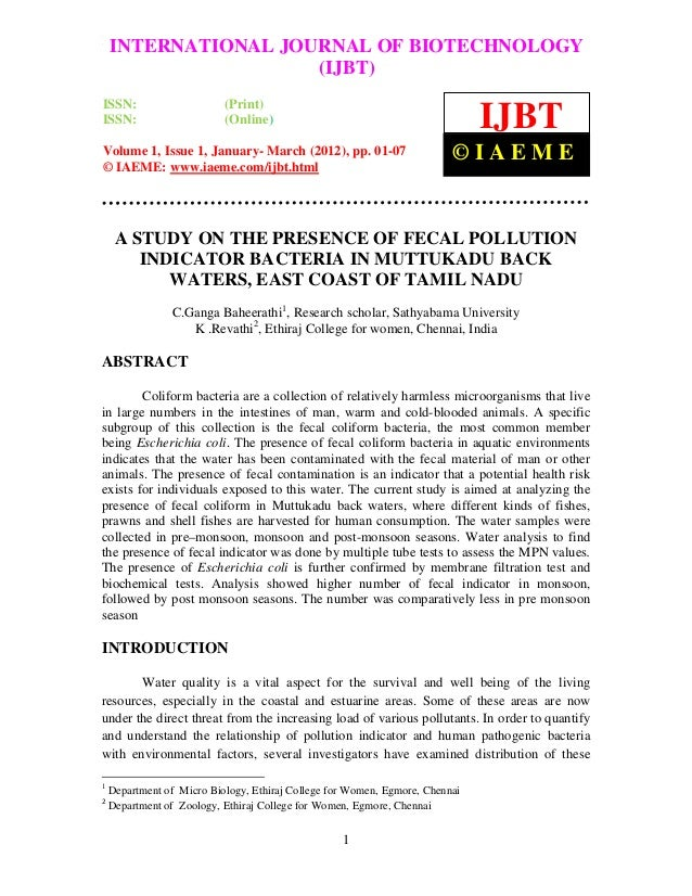 International Journal of Biotechnology (IJBT), Volume 1, Issue 1, January- March 2012    INTERNATIONAL JOURNAL OF BIOTECHN...