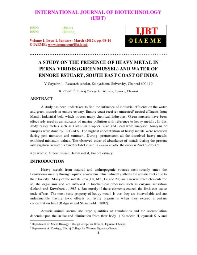 A study on the presence of heavy metal in perna viridis