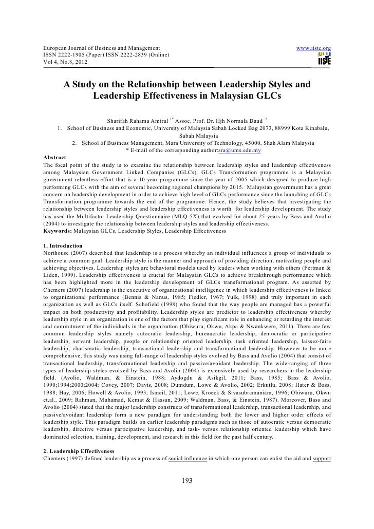 A study on the relationship between leadership styles and leadership effectiveness in malaysian gl cs