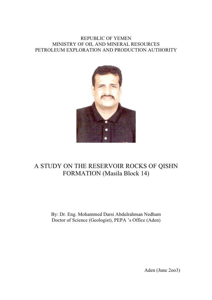 A Study On The Reservoir Rocks Of Qishn Formation (Masila Block 14)