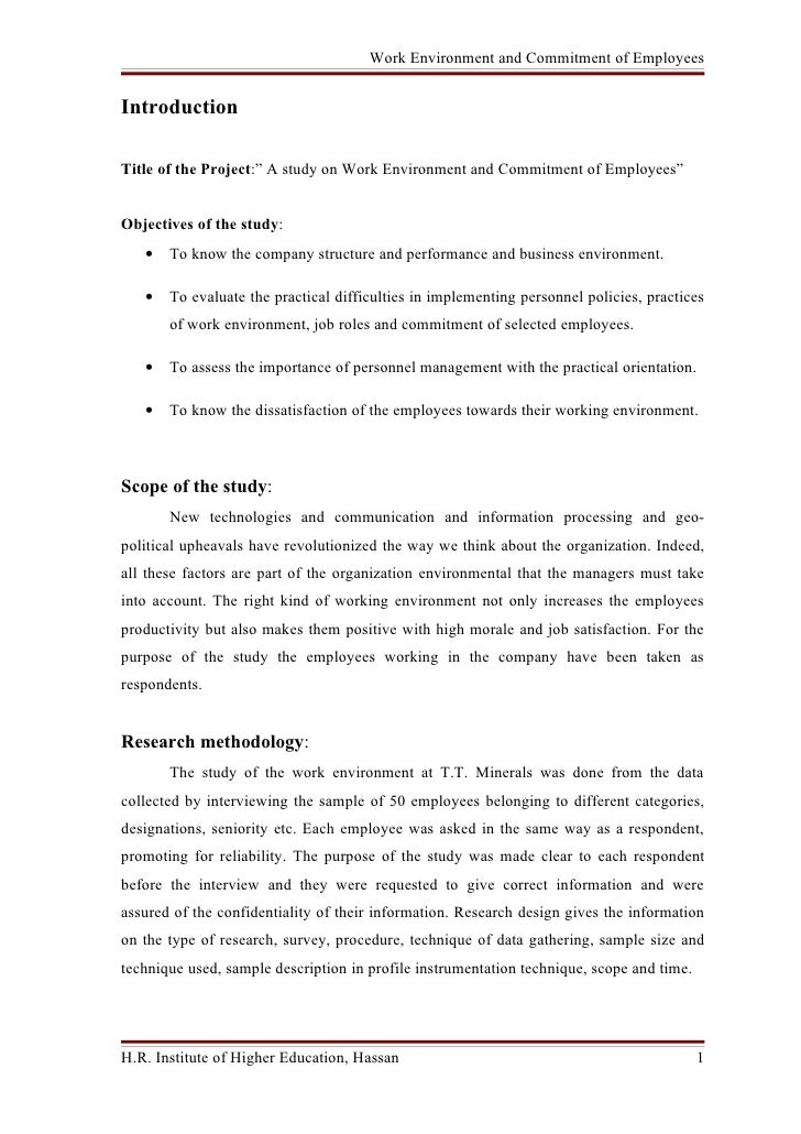 "Work Environment and Commitment of Employees   Introduction  Title of the Project:"" A study on Work Environment and Commit..."