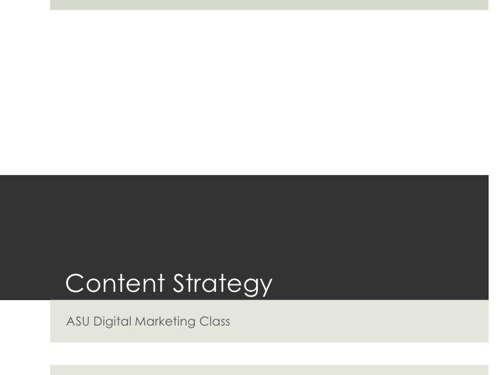 Content Strategy | ASU Digital Marketing Class