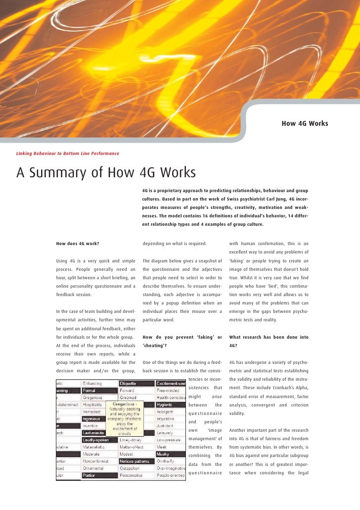 How 4G Works    Linking Behaviour to Bottom Line Performance    A Summary of How 4G Works                                 ...