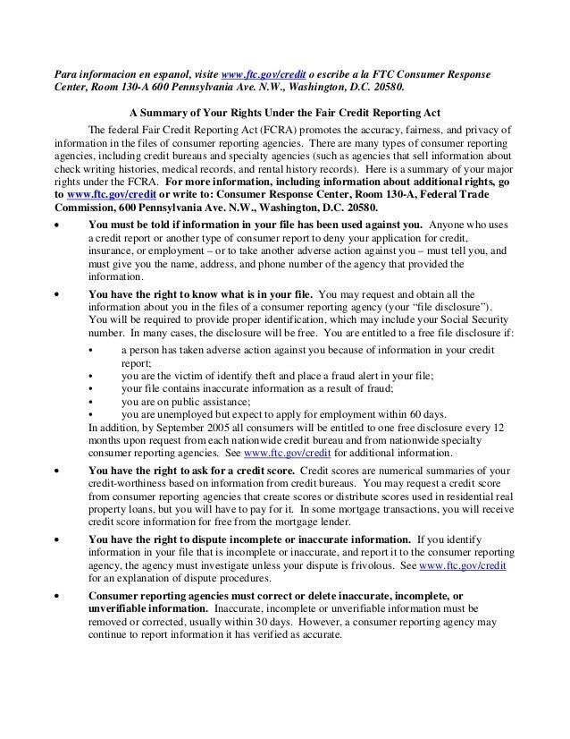 Para informacion en espanol, visite www.ftc.gov/credit o escribe a la FTC Consumer Response Center, Room 130-A 600 Pennsyl...