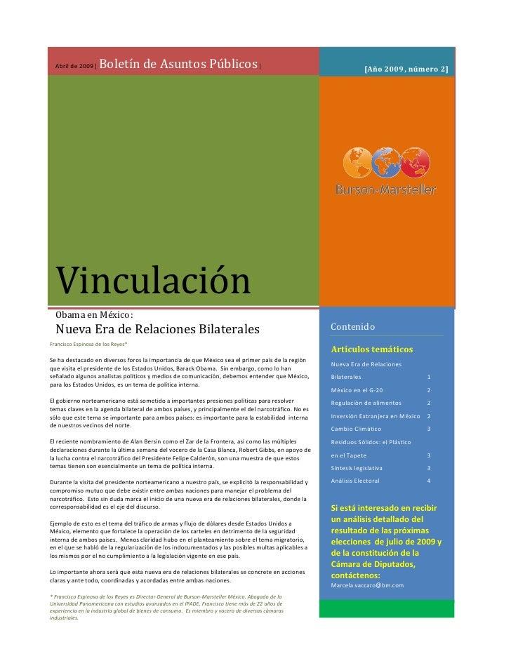 Boletín de Asuntos Públicos |   Abril de 2009 |                                                                           ...