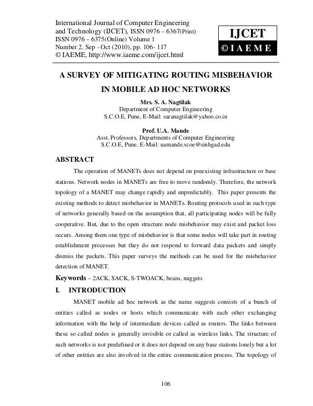 A survey of mitigating routing misbehavior in mobile ad hoc networks