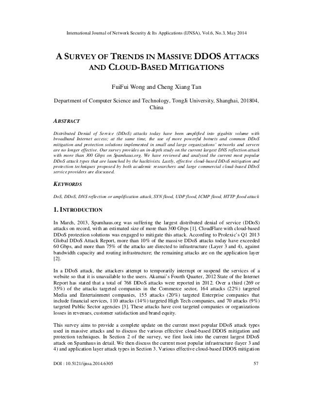 A survey of trends in massive ddos attacks and cloud based mitigations