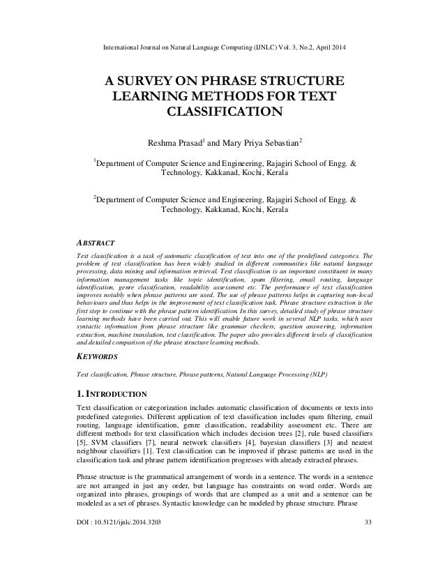 A survey on phrase structure learning methods for text classification