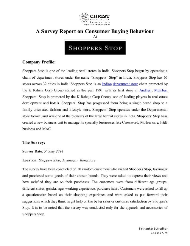 project report on shopper stop Format for project reports the project reports should be like conference papers: concise and focussing on what you did format: use 1 inch margins (left and right), 1 inch margins (top and.