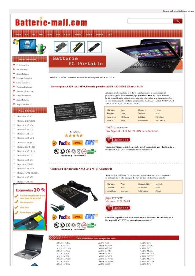 Batterie-mall.com offre Batterie ordinate  Maison  Dell  HP  Asus  Apple  Sony  Lenovo  Toshiba  Fujitsu  Samsung  Acer  B...