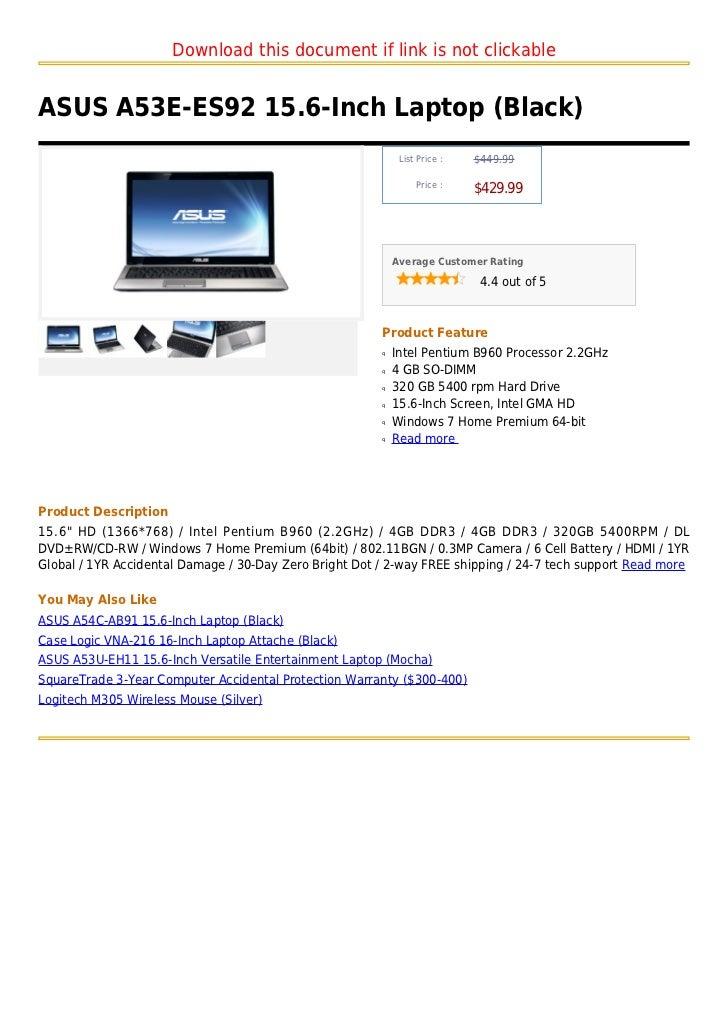 Asus a53 e es92 15.6-inch laptop (black)