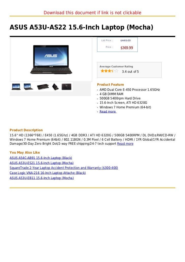 Asus a53 u as22 15.6-inch laptop (mocha)
