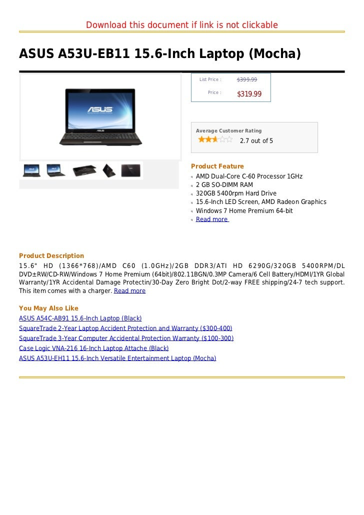 Download this document if link is not clickableASUS A53U-EB11 15.6-Inch Laptop (Mocha)                                    ...